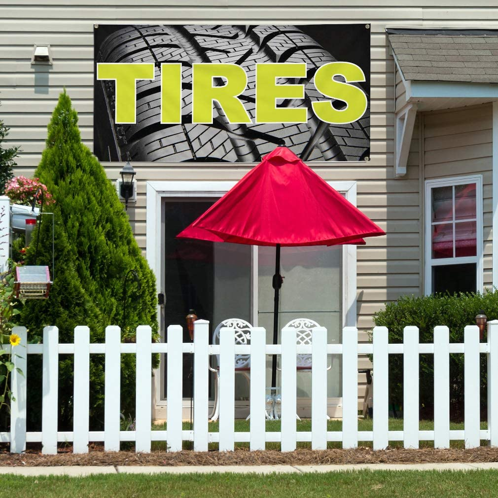 Set of 2 Multiple Sizes Available Vinyl Banner Sign Tires Auto Car Vehicle Style T Automotive Marketing Advertising Black 32inx80in 6 Grommets