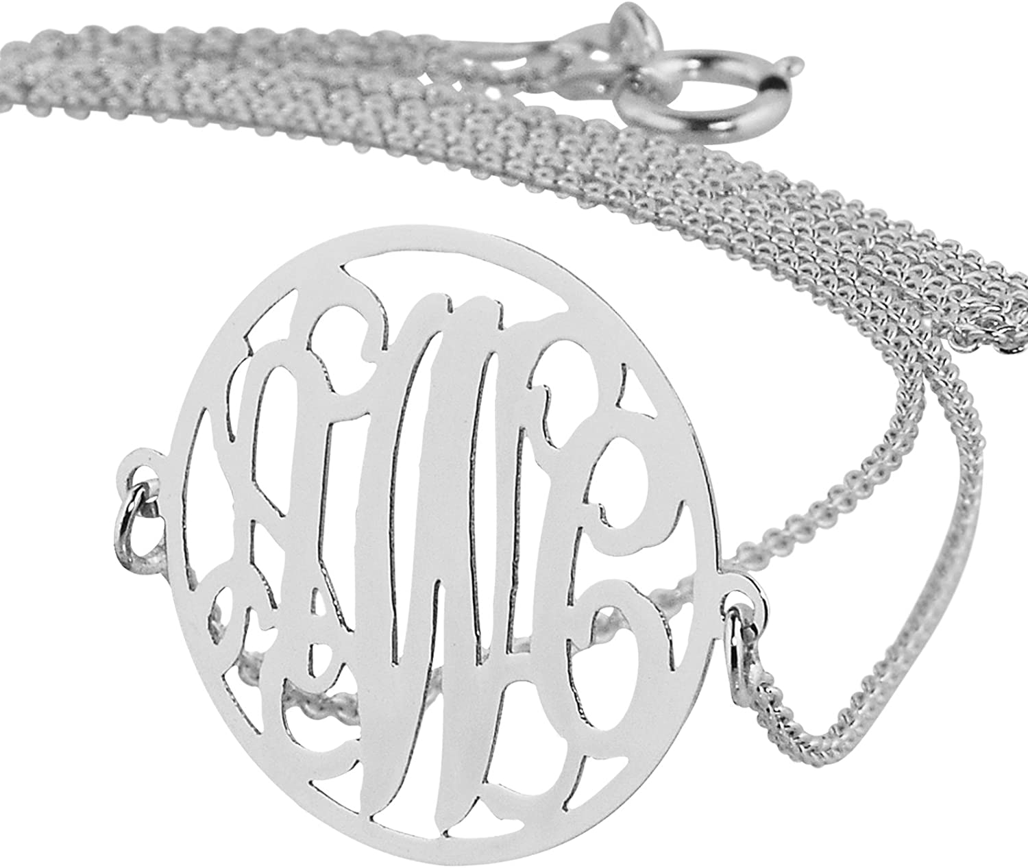 Small 3//4 Inch Circle Monogram Pendant Solid 14k White Gold Personalized 3 Initials Laser Cut Jewelry
