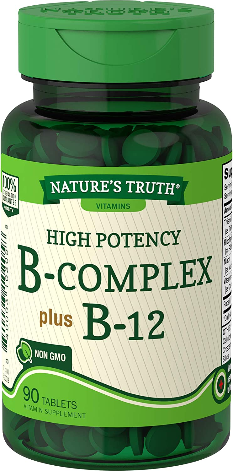 Vitamin B Complex | Plus B12 | 90 Tablets | Vegetarian, Non-GMO & Gluten Free | by Nature's Truth