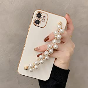 WOYAOFA for iPhone 11 Crystal Diamond Silicone Thin Phone Case for Women Girl, Shiny Luxury Fashion Rhinestone Pearl Bracelet, Wrist Strap and Plating Soft TPU Bumper, Slim and Cute Protective Cover