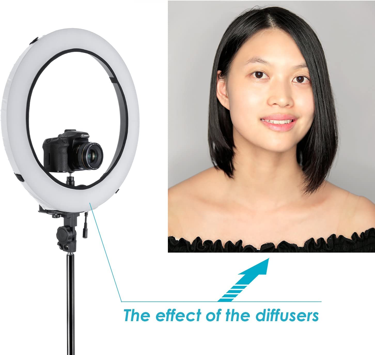 Ball Head Hot Shoe Adapter Neewer Camera Photo Studio YouTube Vine Video Lightning Kit 18 inches//46 centimeters 75W Dimmable Ring Light,75 inches//190 centimeters Light Stand Diffuser Soft Box