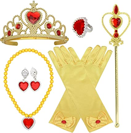 Princess Costume Accessories Princess Dress Up Accessories Childrens Crown Magic Wand Gloves Necklace Earring Set Prom Party Dress Up Girl Red 6PCS 3 otters Princess Dress Up