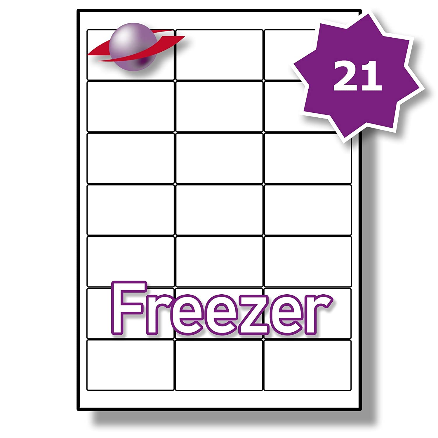 photograph relating to Printable Freezer Labels referred to as 21 For every Webpage/Sheet, 5 Sheets (105 Sticky FREEZER Labels), Label Planet® White Blank Matt Self-Adhesive A4 Deep Freeze Stickers, For Frozen
