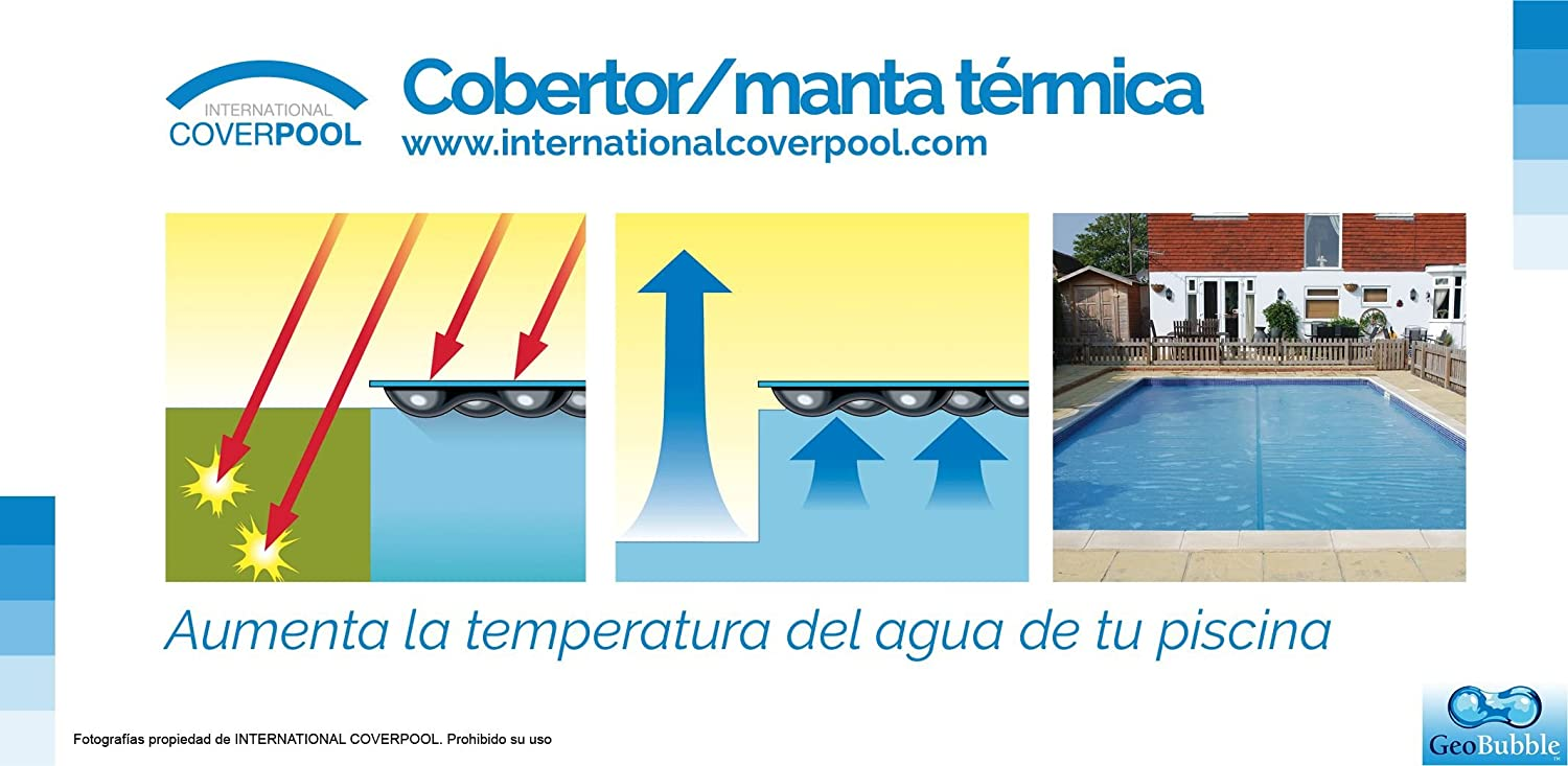 International Cover Pool Enrollador y Manta Térmica 3x6 m para Piscina Geo Bubble 400 micras: Amazon.es: Jardín