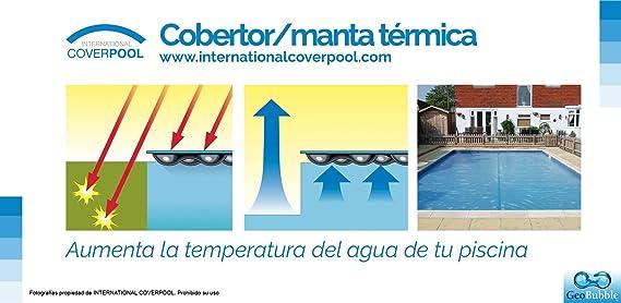 International Cover Pool Enrollador y Manta Térmica 3x6 m para Piscina Geo Bubble 400 micras: Amazon.es: Jardín