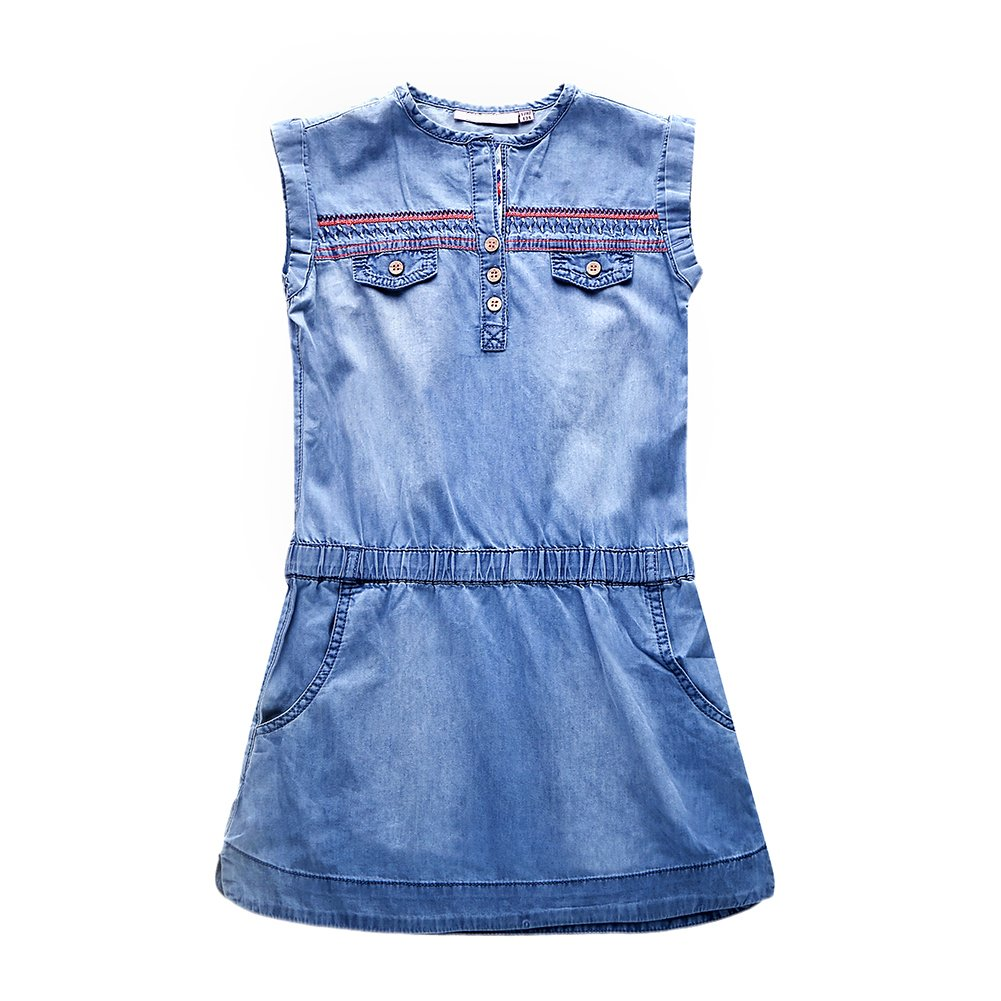 Snowdreams Big Girls Denim Dress Embroidery Sleeveless Cotton Dresses Size 16