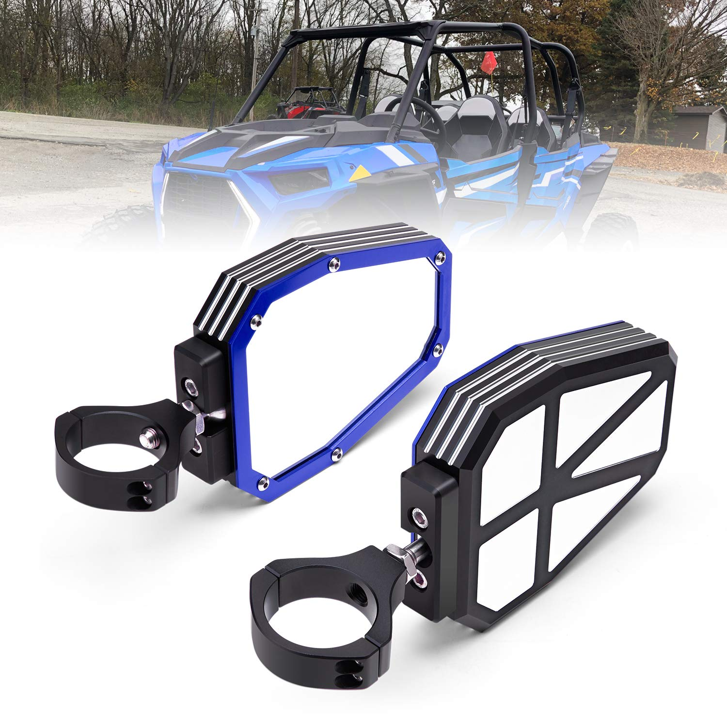 KEMIMOTO UTV Side View Mirrors for Polaris RZR 1000 900 Break Away with Ball Joint High Impact Shatter Proof Tempered Glass Blue Heavy Duty Aluminium Alloy Mirrors by kemimoto
