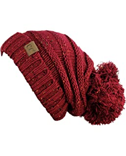 e24fb438a04 Hatsandscarf CC Exclusives Unisex Oversized Slouchy Beanie with Pom  (Confetti Burgundy)