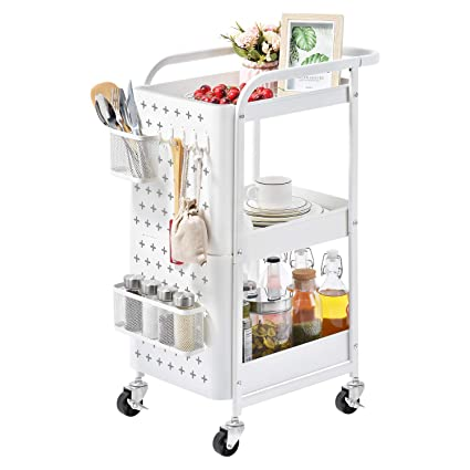 119e75c6260c kingrack 3-Tier Metal Shelving Trolley Organizer, Mesh Serving Rolling Cart  with Peg board Hooks Baskets Handles Locking Wheels, Mobile Storage Rack ...