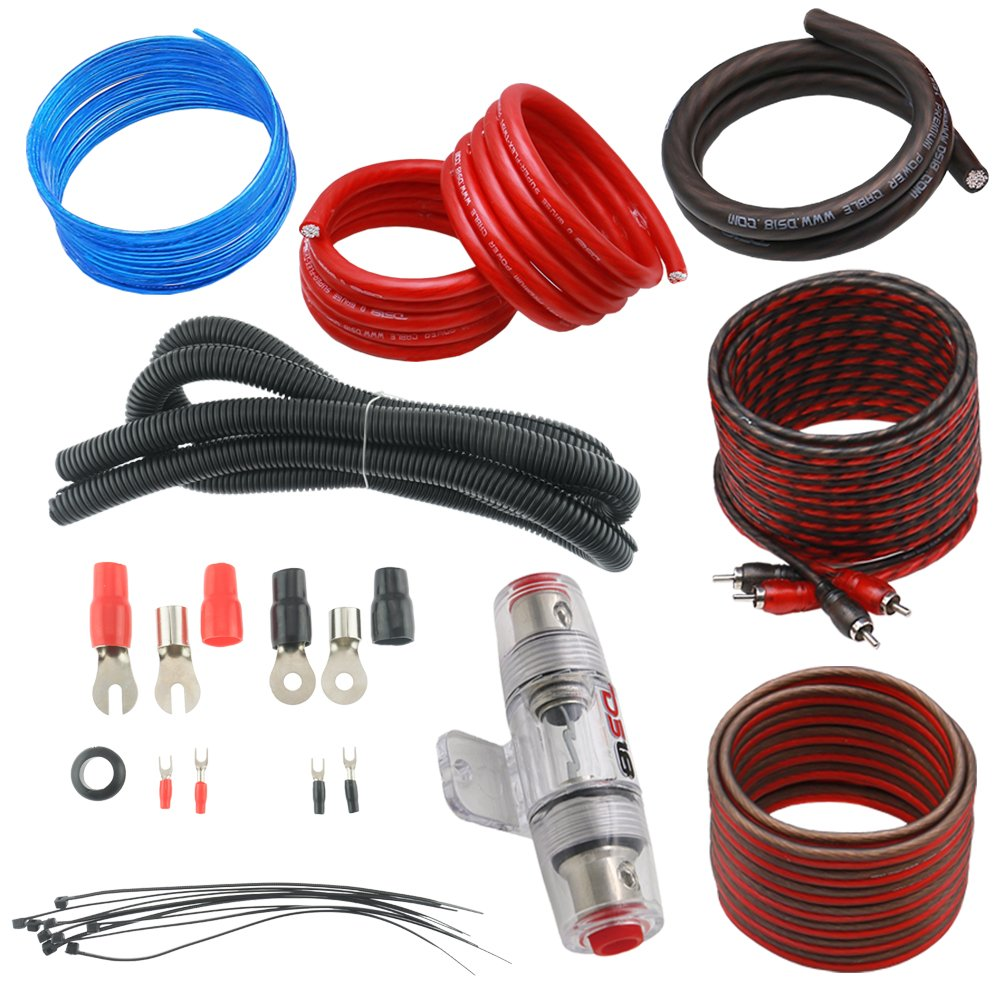 Ds18 Ds Ampkit4 High Power 4 Ga Complete Amp Wiring Kit 8ga Professional Car Amplifier Kits Audio Installation Super Flex Wire Cables 1500w Electronics