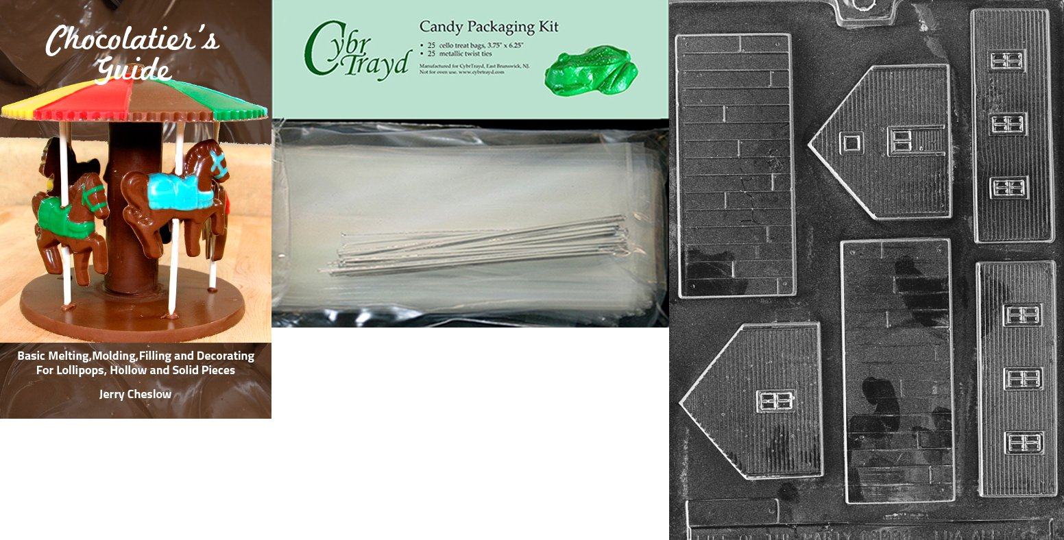 Cybrtrayd ''School'' Miscellaneous Chocolate Mold with Chocolatier's Bundle, Includes 25 Cello Bags and 25 Silver Twist Ties