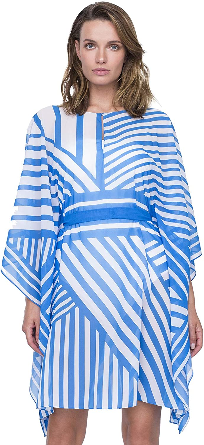 Gottex Womens Waist Tie High Neck Caftan Swimsuit Cover Up Swimwear Cover-Up