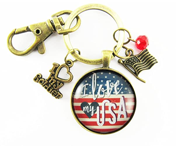 "I Love My Soldier American Flag Keychain, Vintage Bronze Key Chain Patriotic Key Ring, Glass Round 1.20"" Retro Pendant Key Holder"