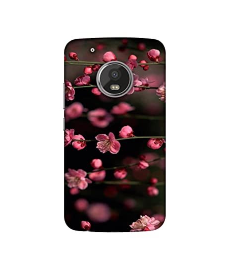 Casotec Pink Flowers Design Printed Silicon Soft TPU Back Case Cover for Motorola Moto G5 Plus