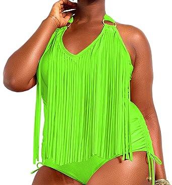 c9b80dfe664f6 Silvia s Wand Plus Size Tassel One Piece Bikini Swimwear Swimsuit Monokini  Beachwear Bathing Suit Black  Amazon.co.uk  Clothing