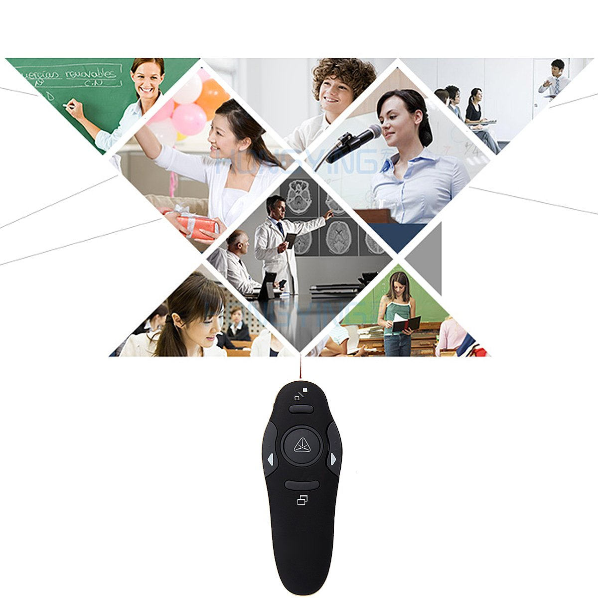 Black MOCREO/®Professional 2.4GHz Wireless Presenter//Laser Pointer//Powerpoint Presentation Remote Controller Support with a Plug-and-play Wireless USB Receiver Compatible W//Every System