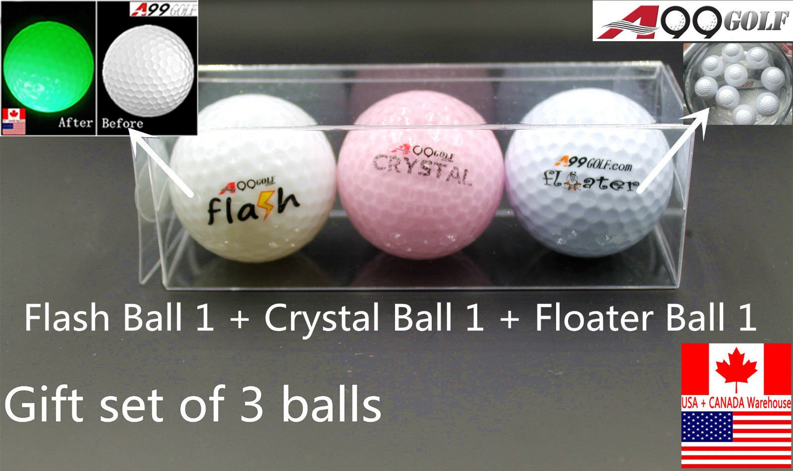 A99 Golf Gift Set of Balls 1 Crystal Ball+1 Flshing Ball Blue+ 1 Floater Ball