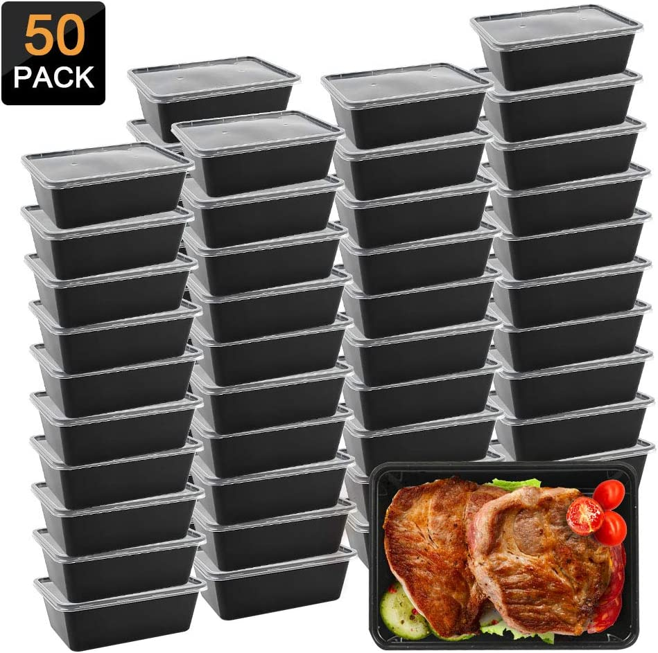 Meal Prep Containers, Microwavable Food Storage Containers Plastic Disposable Insulated Reusable Healthy Bento Boxes with Lids for Dishwasher Freezer Safe 50 Pack (750 ML/ 26 OZ)