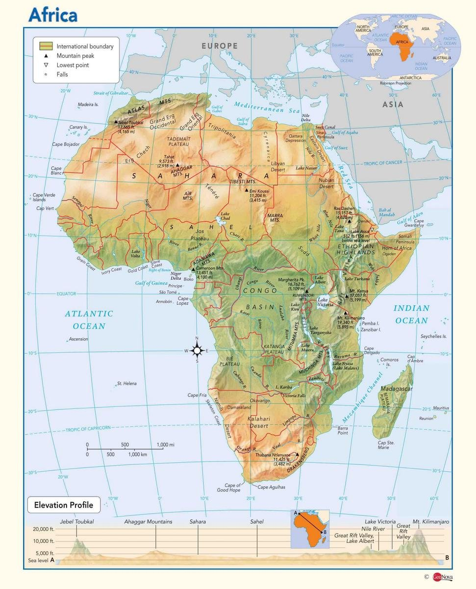 Map Of Africa Physical.Amazon Com Gifts Delight Laminated 24x29 Poster Physical Map