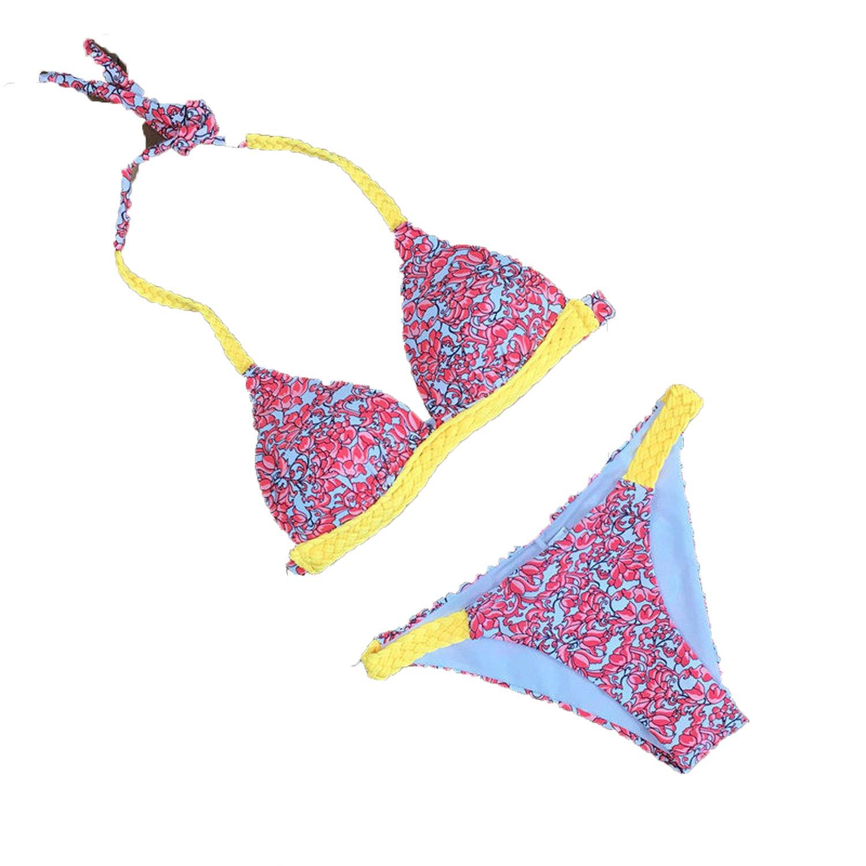 Noon-Sunshine New Bikini Female Swimsuit Nylon Digital Straight Jet Printed Bikini Sexy Halter Swimsuit,Orange Flower,S
