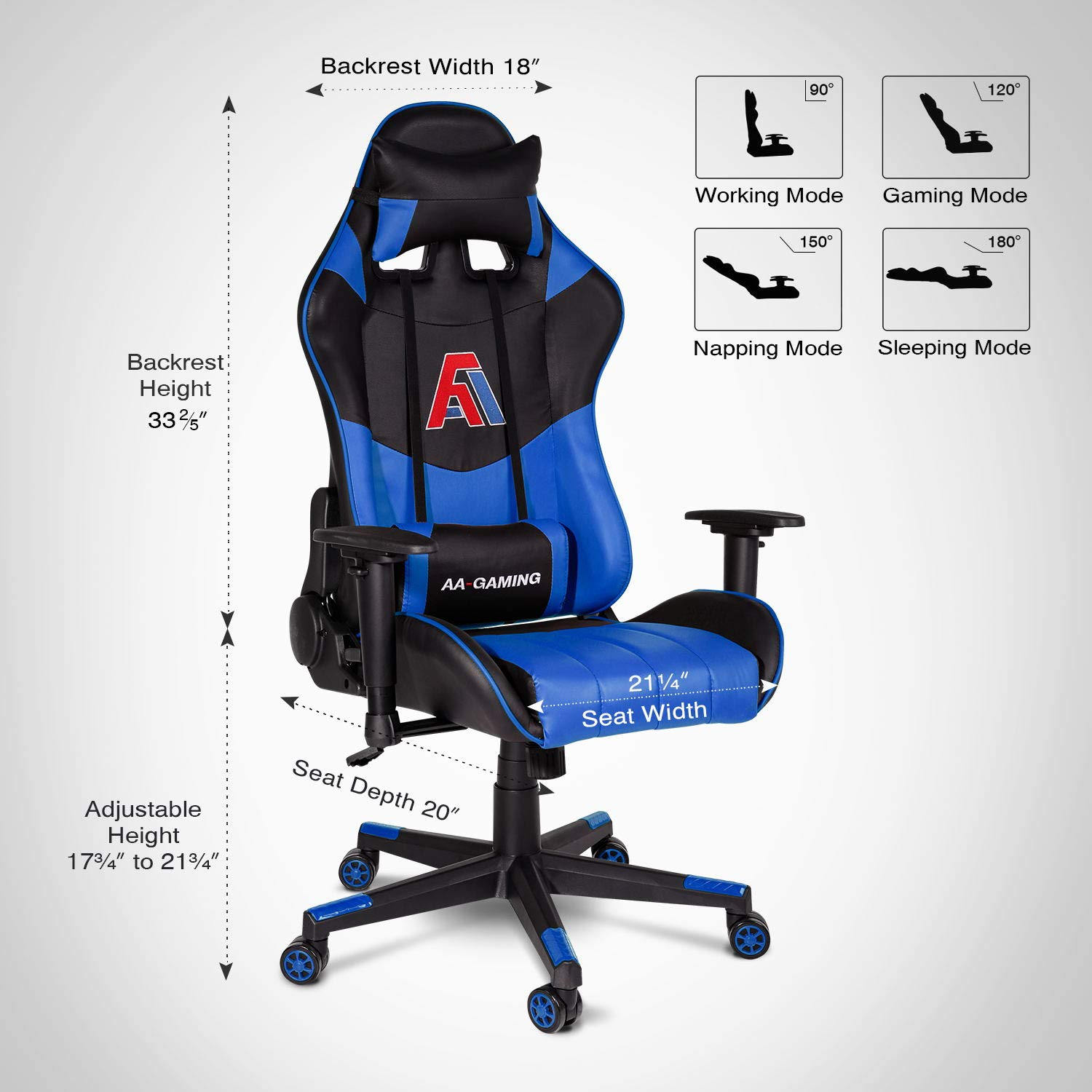 Pleasant Aa Products Gaming Chair High Back Vedio Game Chair Ergonomic Adjustable Computer Racing Chair With Lumbar Support Swivel Chair Blue Machost Co Dining Chair Design Ideas Machostcouk