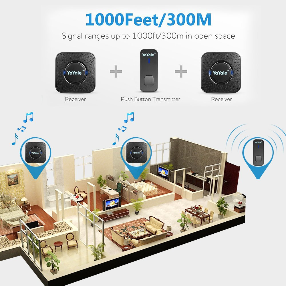Wireless Doorbell,Waterproof Chime Kit Operating at 1000ft with 1 Push Button Transmitter(Battery included)and 2 plug-in Receivers,55 Chimes,45 Level Volume LED Indicator -Black