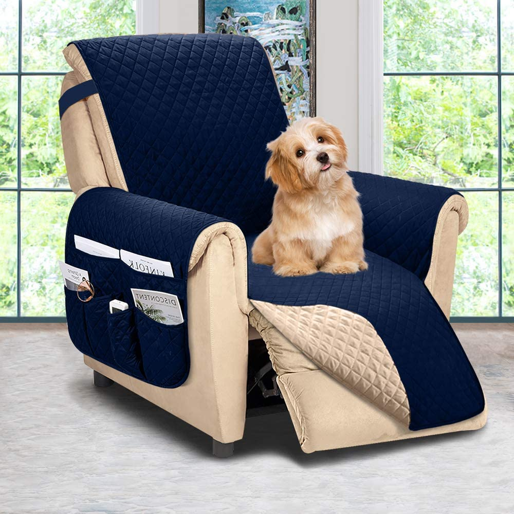 Reversible Recliner Chair Cover, Sofa Covers for Dogs,Sofa Slipcover,Couch Covers for 3 Cushion Couch,Couch Protector(Recliner Oversize:Navy Blue/Brown)