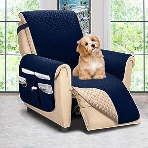 ASHLEYRIVER Recliner Chair Cover,Recliner Slipcover, Recliner Covers for Dogs,Recliner Slipcover,Recliner Protector(Recliner Medium:Navy Blue/Brown)
