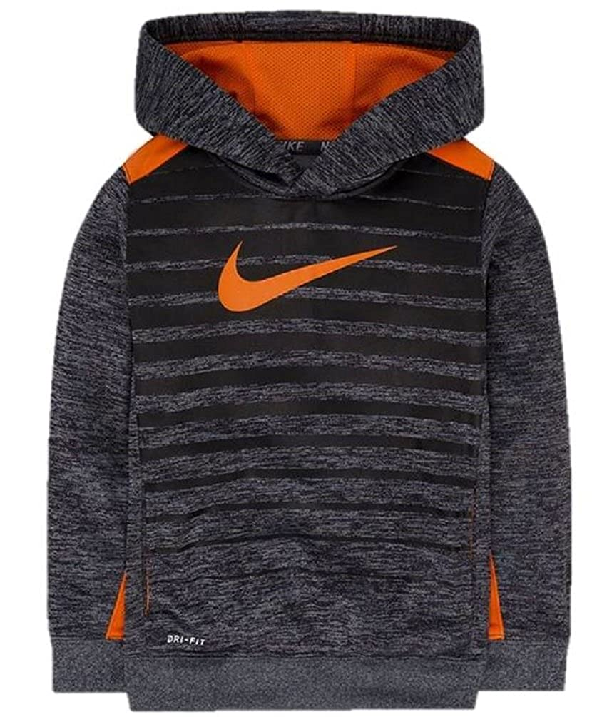 39ca6f8846 Amazon.com  Nike Boy s Orange and Grey Stripe Dri-fit Pullover Hoodie   Sports   Outdoors