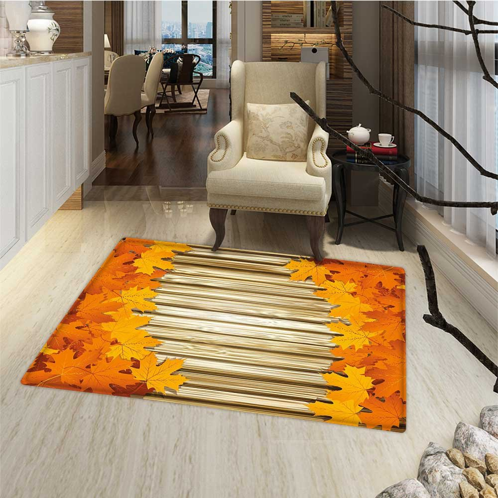Fall Door Mat outside Fallen Leaves on Wooden Wall September Foliage Rustic Style Print Bathroom Mat for tub Non Slip 20''x32'' Orange Marigold Pale Coffee