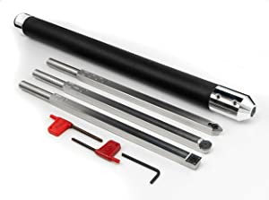 Simple Woodturning Tools Carbide Wood Lathe Tools Hollower, Rougher, Detailer and Interchangeable Foam Grip Handle, USA Made, Stainless Steel