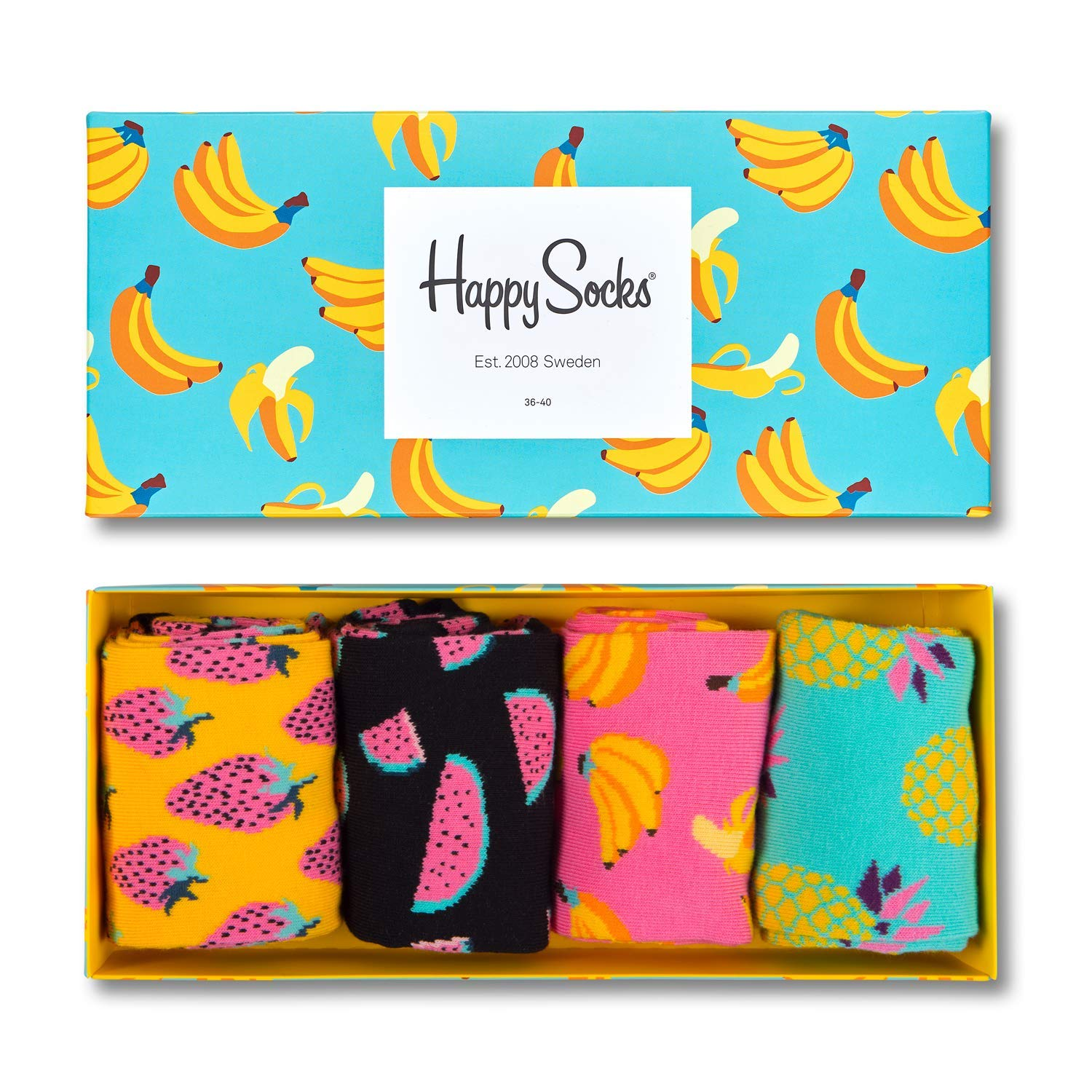 Happy Socks Fruit Gift Box Calcetines casual, Gelb (Koralle 3000), Talla única (Pack de 4 para Mujer