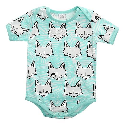 bc56c7021 Amazon.com  Newborn Baby Boys Girls Fox Short Sleeve Romper Bodysuit ...