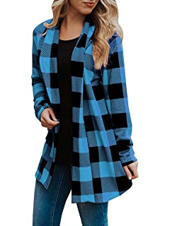c97af97abc Womens Buffalo Plaid Cardigans Long Sleeve Elbow Patch Draped Open Front Cardigan  Shirt