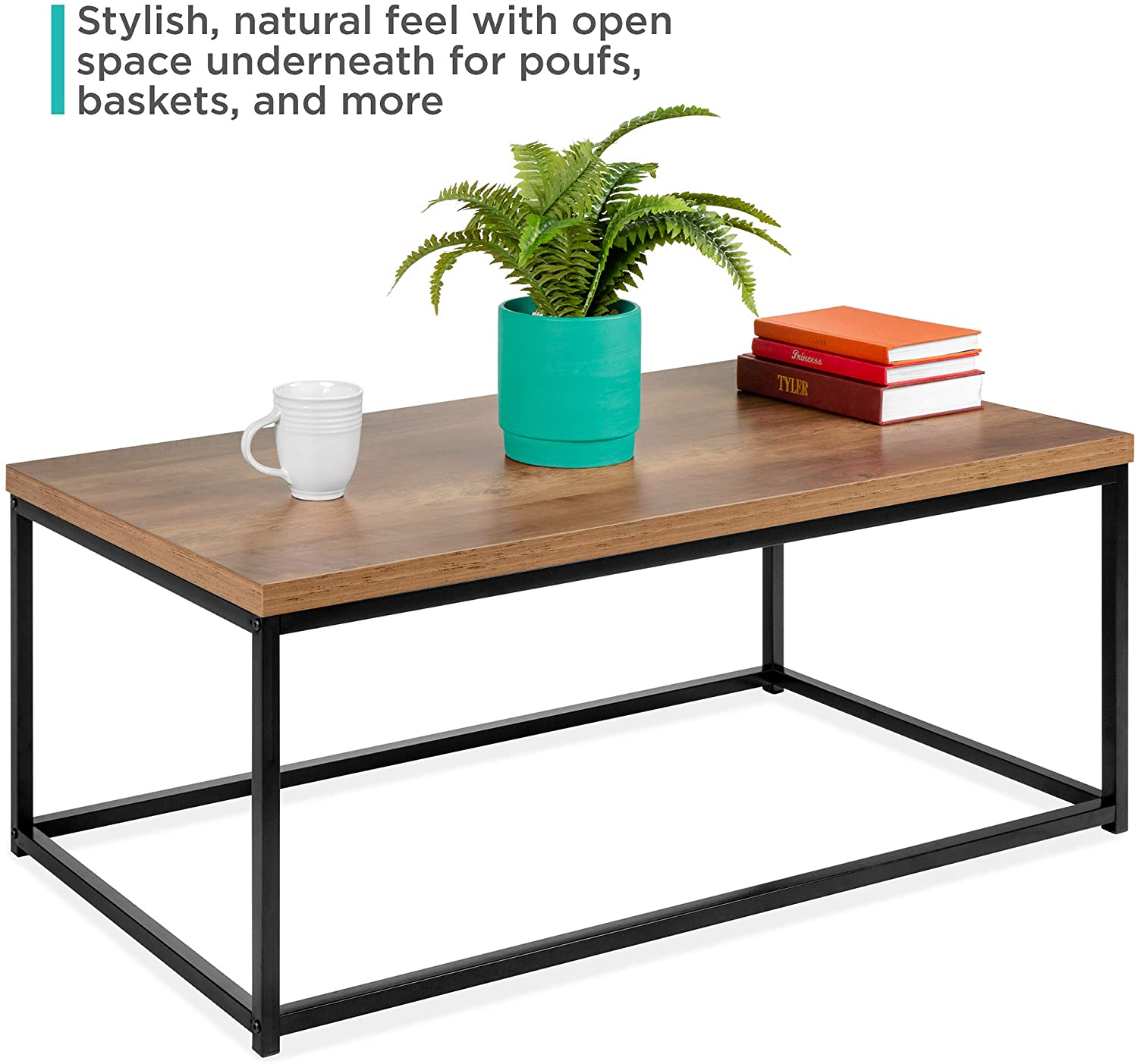 Best Choice Products 44in Modern Industrial Style Rectangular Wood Grain Top Coffee Table w/Metal Frame, 1.25in Top