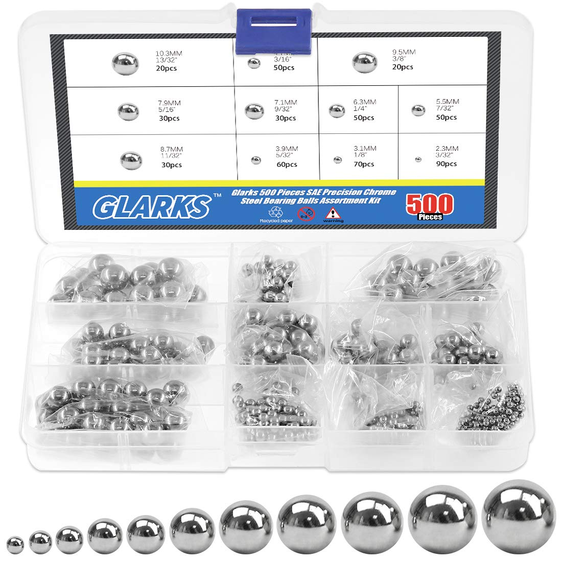 "500 Bicycle Bearing Balls Assortment 100 of sizes 1//8/"" 5//32/"" 3//16/"" 7//32 1//4/""inch"