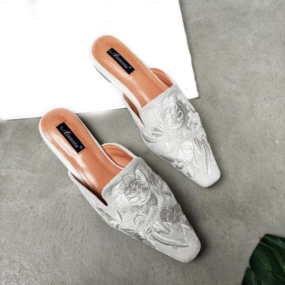 YWNC Square Head Flat Damen Halbschuhe Hausschuhe Summer Fashion Sandalen 2018 New Swan Silk Stickerei  39|white