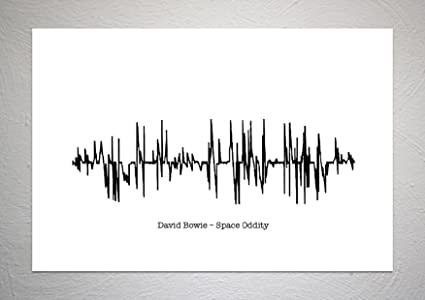 David Bowie - Space Oddity - Sound Wave Song Art Print - A4 Size