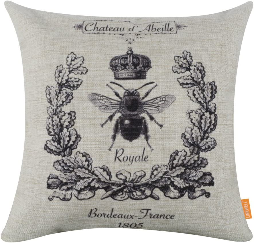 Linkwell Pack Of 2 Square Throw Pillow Covers Set Decorative Cushion Case For Sofa Bedroom Car Couch 18 X 18 Inch Black Queen Bee And Fleur De Lys Cc623 742 Home Kitchen