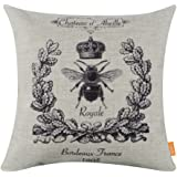 LINKWELL 45*45cm Black Queen Bee Crown BurlapCushion Covers Pillow Case
