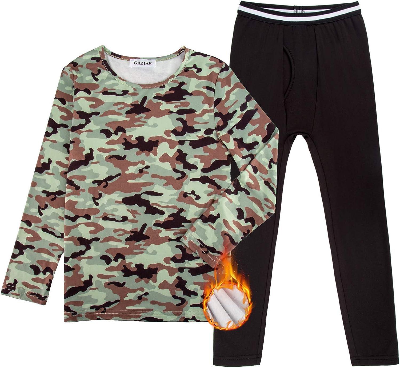 GAZIAR Boys' Thermal Underwear Long John Set Soft Black Fleece Lined Tops and Bottoms for Kids Boys 2 PCS 4Y-14Y