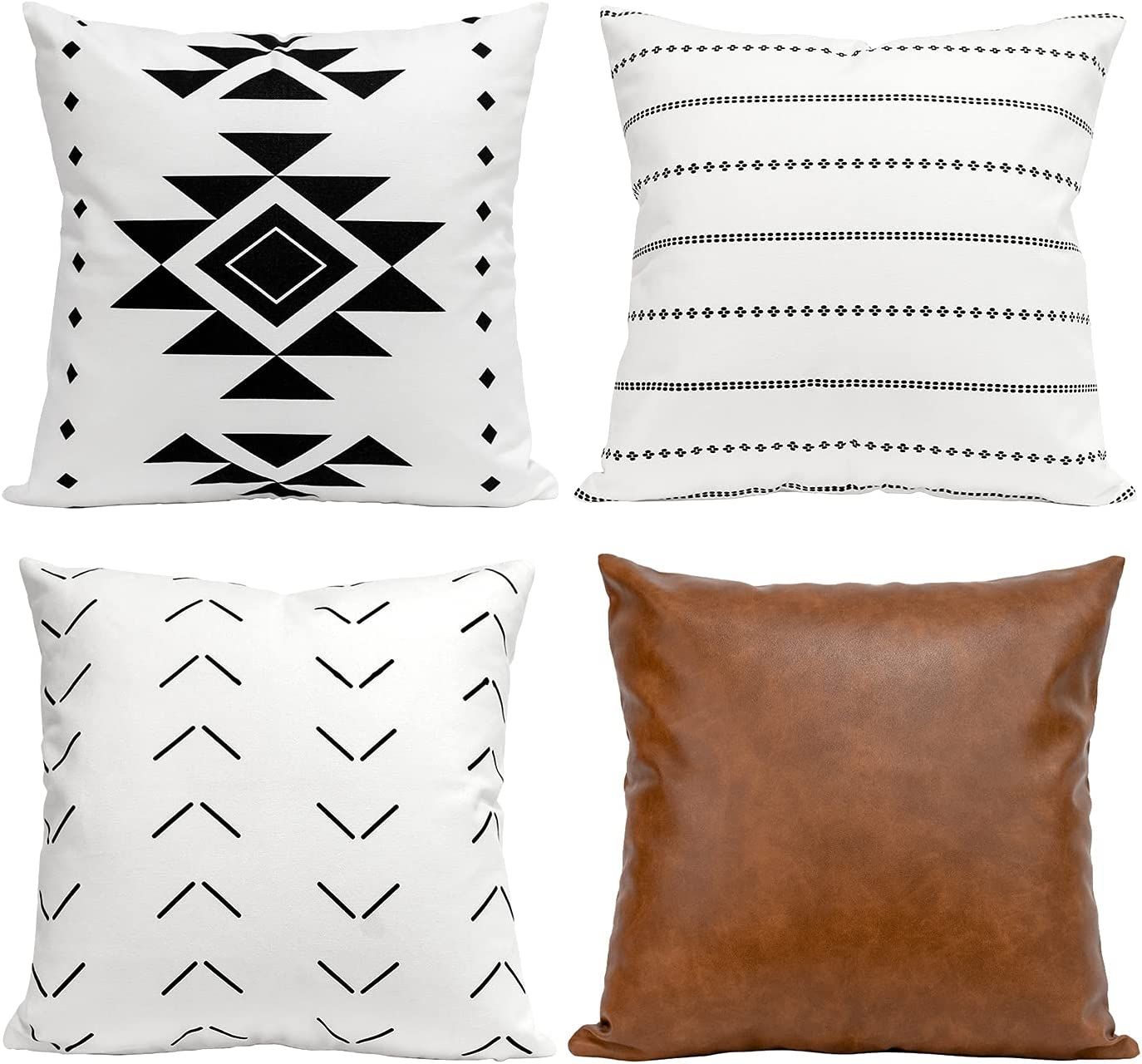 COLORPAPA Boho Throw Pillow Covers for Couch, Decorative Pillow Covers 18x18 Set of 4, Modern Farmhouse Pillow Covers for Sofa, Bed, Living Room, Faux Leather Cushion Cover Black White, and Brown
