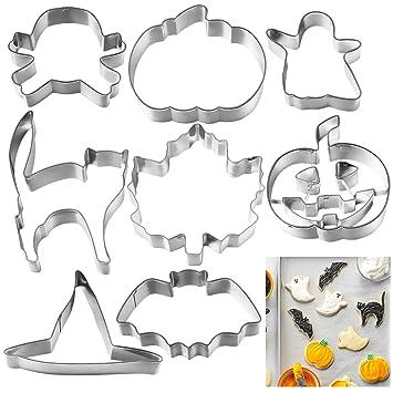 OUNONA 8 piezas Halloween Cortadores de Galletas Acero Inoxidable Moldes para Galletas para Pastel, Cookie, Fondant: Amazon.es: Hogar