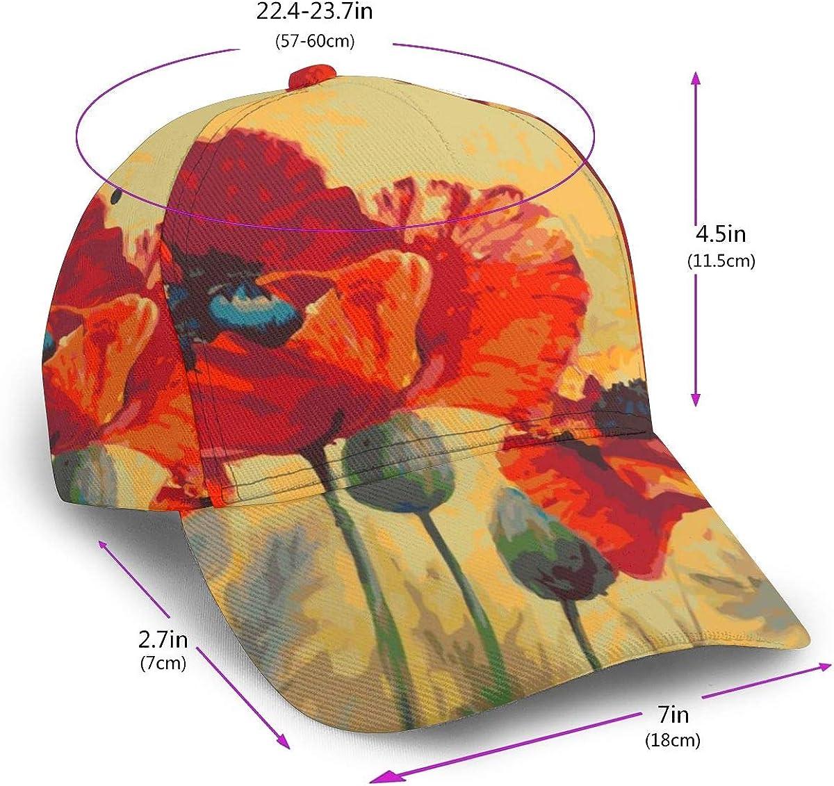 Watercolor Poppy Flowers Man Classic Hip Hop Baseball Cap 100/% Cotton Unisex Soft Adjustable Size Black