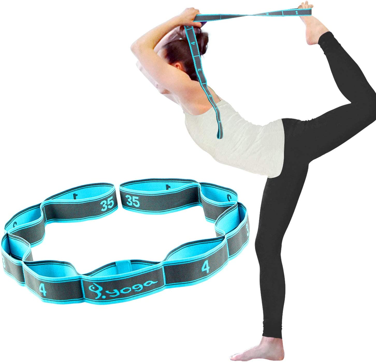 SONGSU Elastic Stretch Strap, Stretching Strap for Physical Therapy with 8 Loops, Yoga, Dance and Pilates, Gymnastics, Hamstring Strength Training
