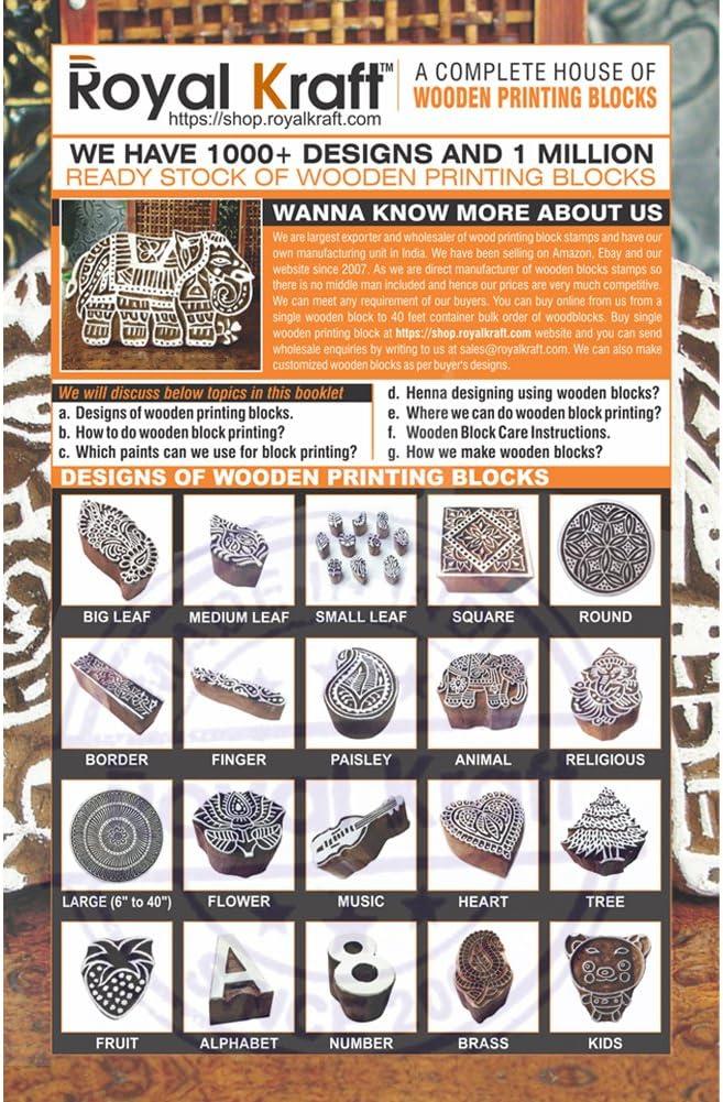 Set von 5 Royal Kraft Handgeschnitzt Spiral und Runden Muster H/ölzern Drucken Bl/öcke