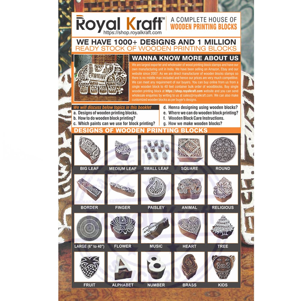 Asian Elephant and Fish Motif Wood Print Stamps (Set of 5) by Royal Kraft (Image #3)