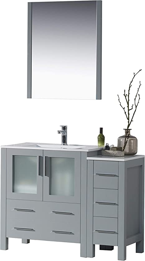 Amazon Com Blossom Sydney 42 Inches Single Bathroom Vanity Ceramic Sink And Side Cabinet With Mirror All Wood Metal Grey 001 42 15 Sc Kitchen Dining