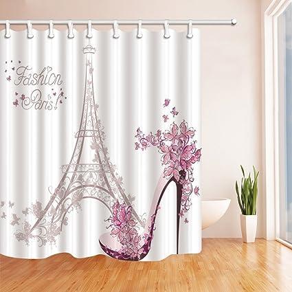 1728f46e66a54 KOTOM Fashion Girl Decor, Paris Eiffel Tower with High Heels Shower  Curtains, Polyester Fabric Waterproof Bathroom Bath Curtain, Shower Curtain  Hooks ...