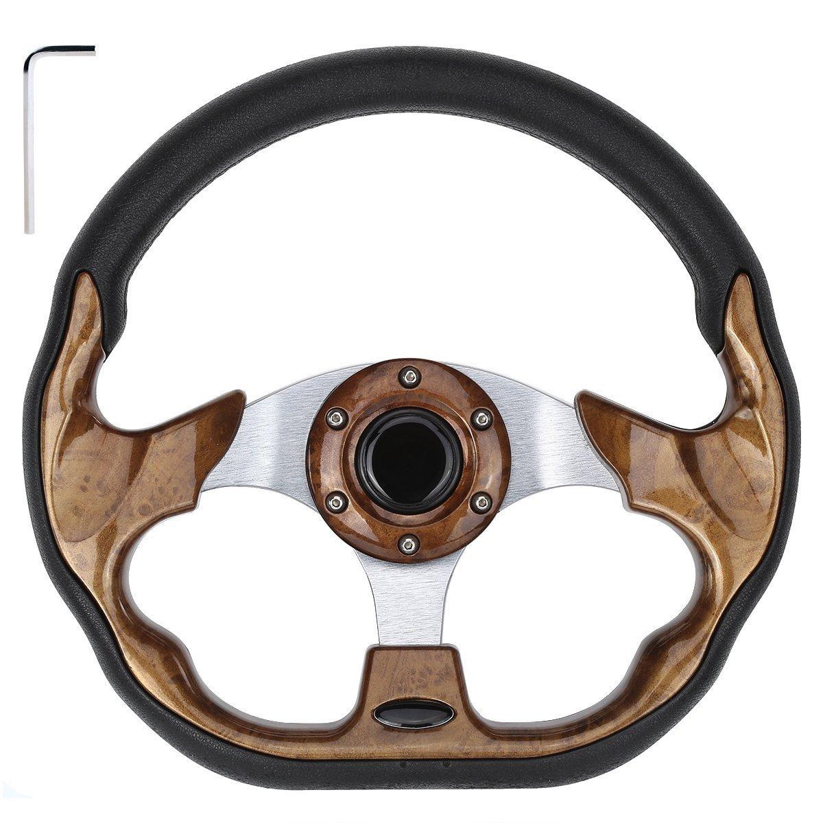 10L0L Golf Cart Steering Wheel, Generic of Most Golf cart EZGO Club Car Yamaha (stlye2 Wood)